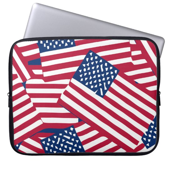 American flag in overlap laptop sleeve