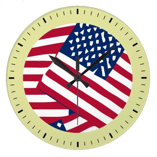 American flag in overlap large clock