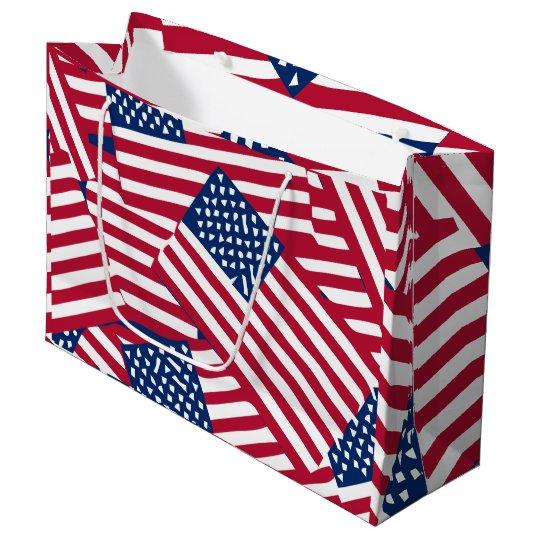 American flag in overlap large gift bag