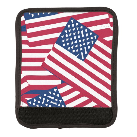 American flag in overlap luggage handle wrap