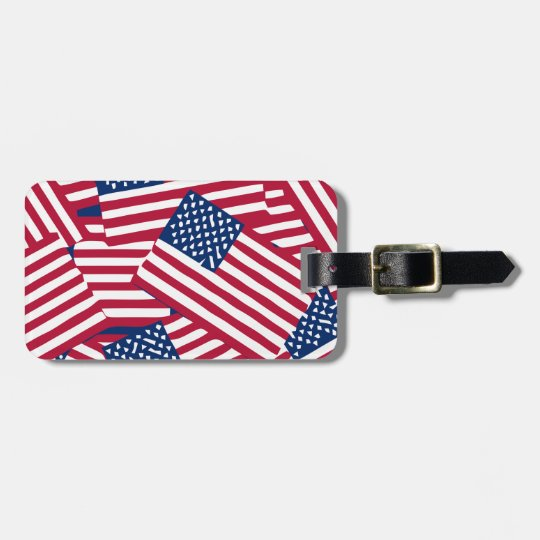 American flag in overlap luggage tag