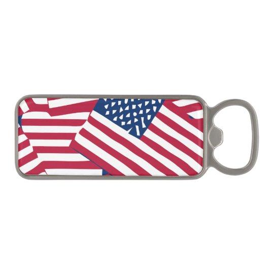 American flag in overlap magnetic bottle opener