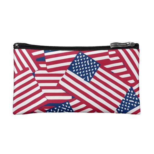 American flag in overlap makeup bag