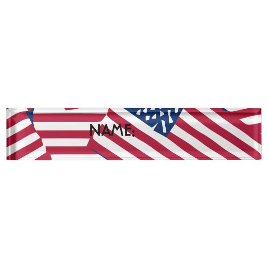 American flag in overlap nameplate