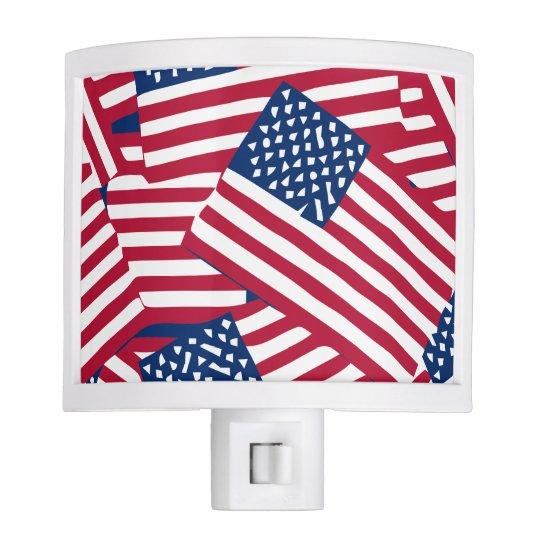 American flag in overlap nite light
