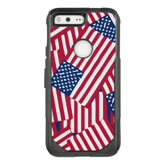 American flag in overlap OtterBox commuter google pixel case