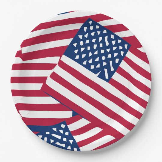American flag in overlap paper plate