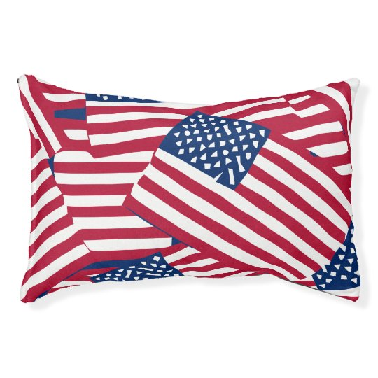 American flag in overlap pet bed