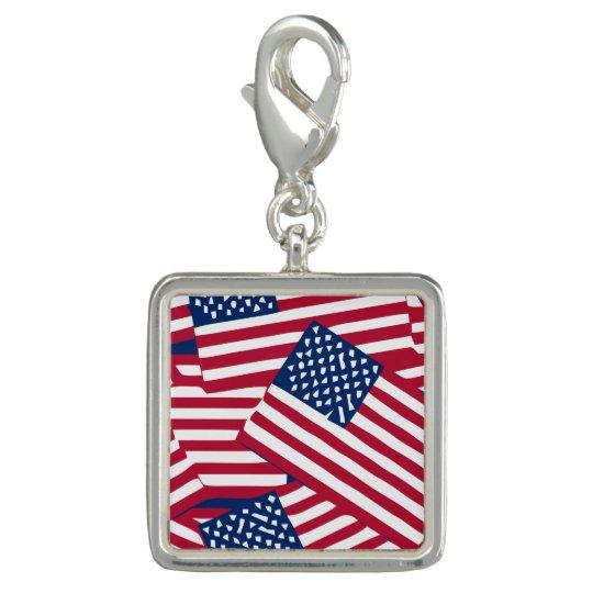 American flag in overlap photo charm