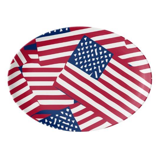 American flag in overlap porcelain serving platter