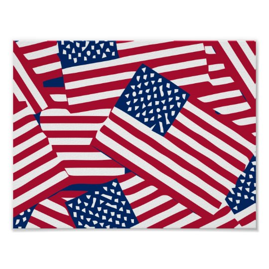 American flag in overlap poster