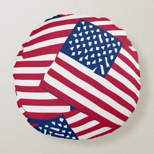 American flag in overlap round pillow