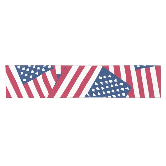American flag in overlap short table runner