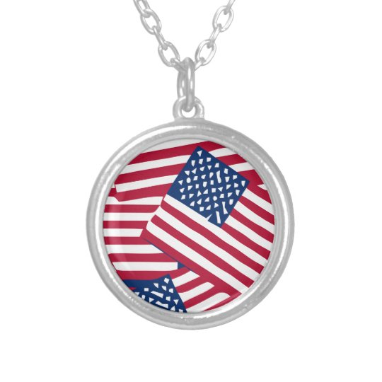 American flag in overlap silver plated necklace