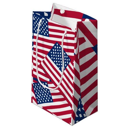 American flag in overlap small gift bag