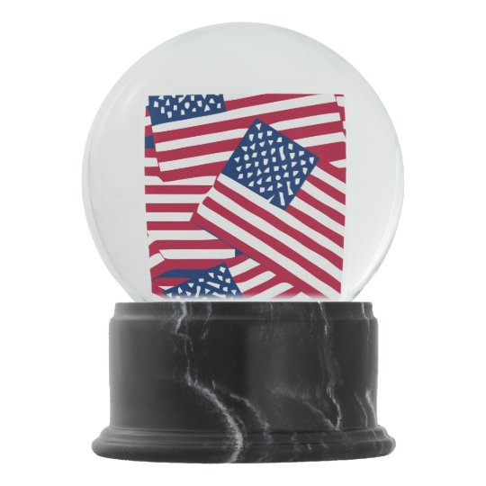 American flag in overlap snow globe