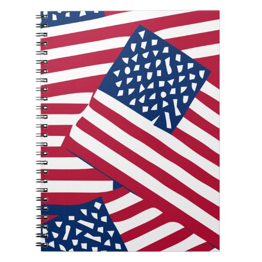 American flag in overlap spiral notebook