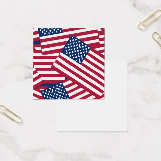 American flag in overlap square business card
