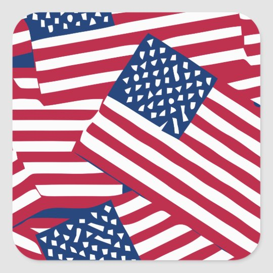 American flag in overlap square sticker