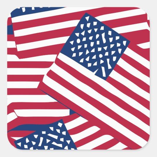 American flag in overlap square sticker