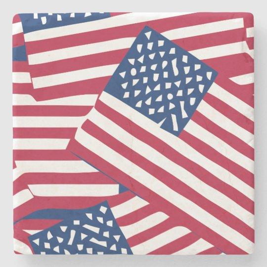 American flag in overlap stone coaster
