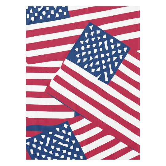 American flag in overlap tablecloth