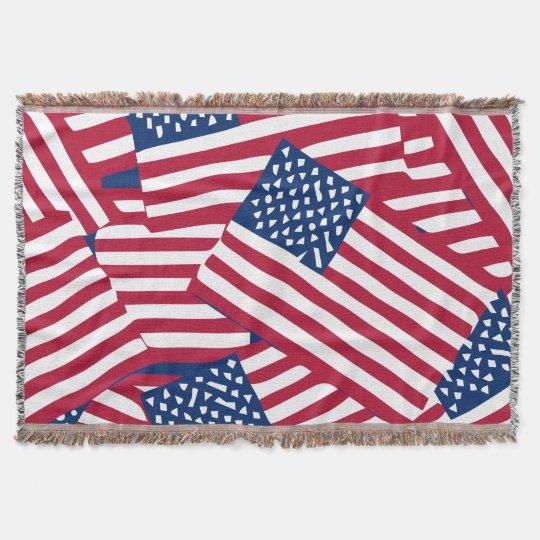 American flag in overlap throw blanket