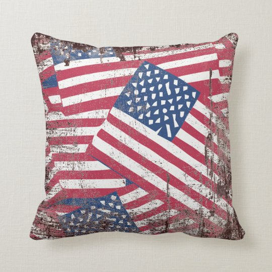 American flag in overlap throw pillow