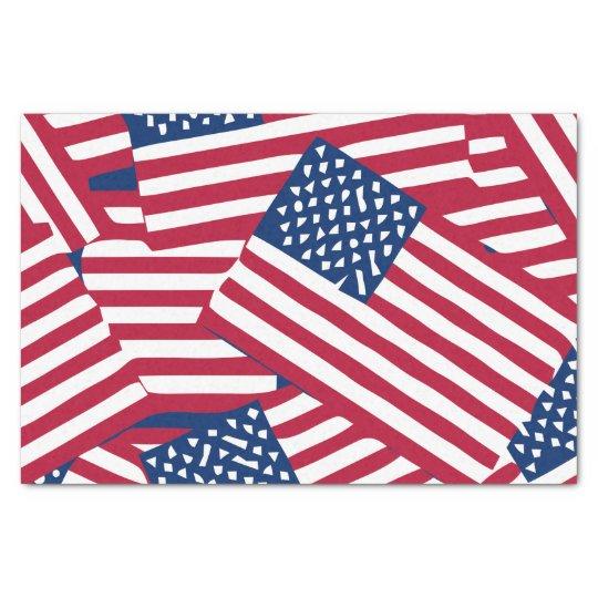 American flag in overlap tissue paper