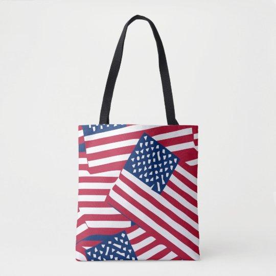 American flag in overlap tote bag