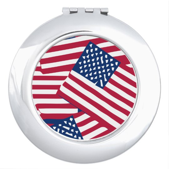 American flag in overlap travel mirror