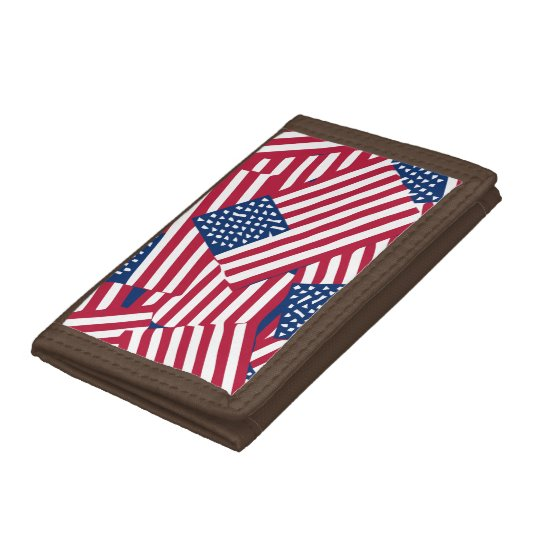 American flag in overlap tri-fold wallet