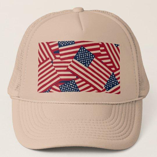 American flag in overlap trucker hat