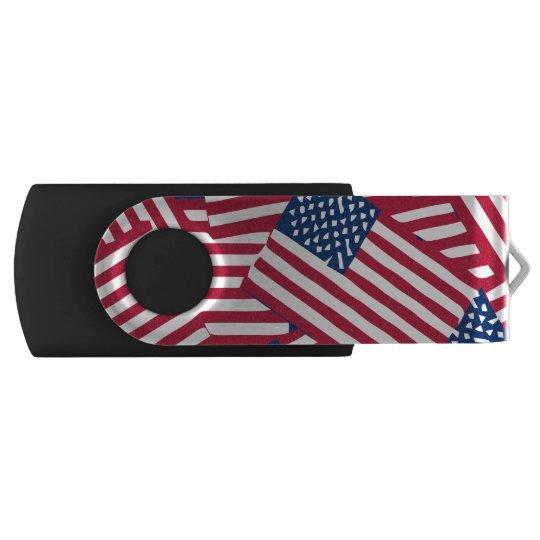 American flag in overlap USB flash drive