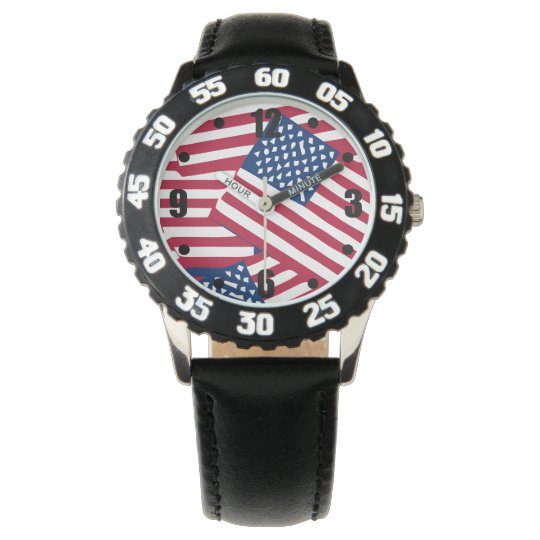 American flag in overlap watch
