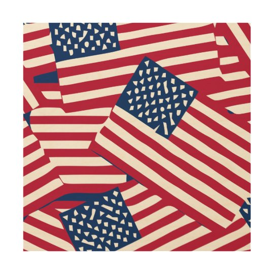 American flag in overlap wood print