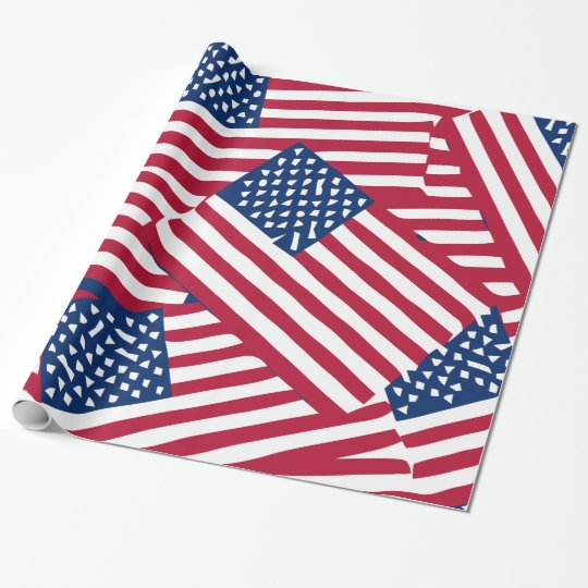 American flag in overlap wrapping paper
