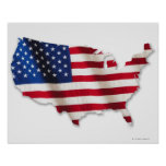 American flag in shape of United States Poster