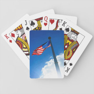 American Flag in Sky Playing Cards