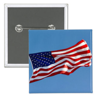 American Flag in the Wind 2 Inch Square Button