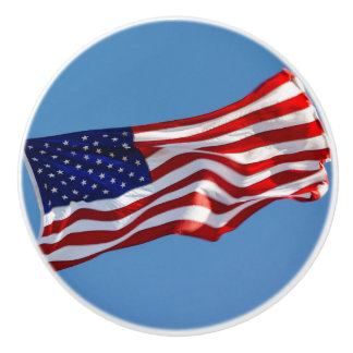 American Flag in the Wind Ceramic Knob