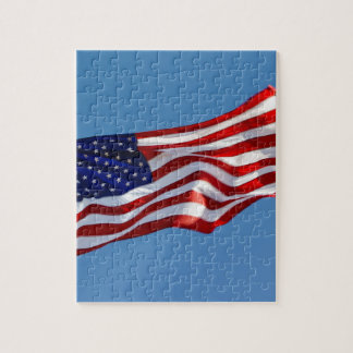 American Flag in the Wind Jigsaw Puzzle