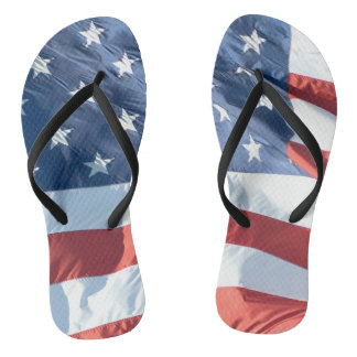 American Flag in the Wind Non-Identical Flip Flops