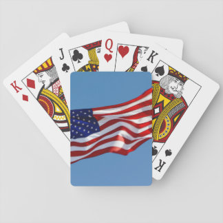 American Flag in the Wind Playing Cards