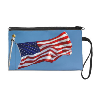 American Flag in the Wind Wristlet Purse