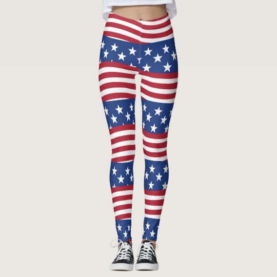 American flag in tile design Leggings, M (8-10) Leggings