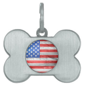American Flag Independence Day 4 th July Pet ID Tags