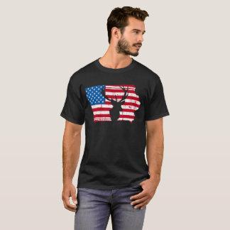 American Flag Iowa Deer Hunting Patriotic T-Shirt