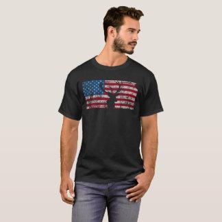 American Flag Kansas Deer Hunting Distressed T-Shirt