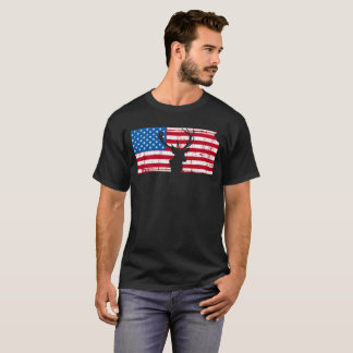 American Flag Kansas Deer Hunting Patriotic T-Shirt